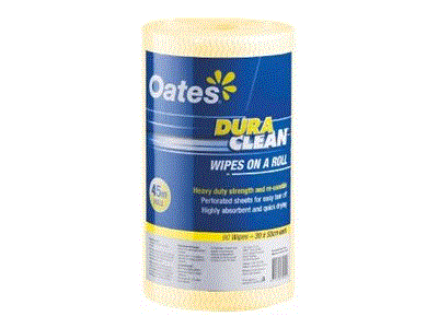 OATES DURACLEAN WIPES ON A ROLL - YELLOW