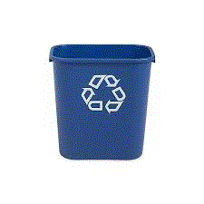 RUBBERMAID BLUE WASTEBASKET - RECYCLING
