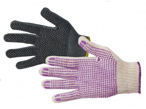 POLY D GREY POLY COTTON GLOVES WITH PVC DOTS