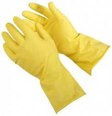 THRIFTY YELLOW FLOCK LINED RUBBER GLOVES - SMALL