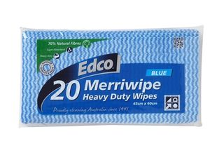 EDCO MERRIWIPE HEAVY DUTY PACKET (19704) -BLUE - (45 X 60CM ) -20- PKT
