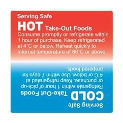 FOOD SAFETY LABEL PERMANENT -10910 -75MM HOT/COLD - 500 ROLL