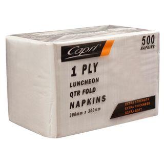 CAPRI LUNCH 1PLY WHITE NAPKIN - 500 - PKT