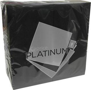 CAPRICE PLATINUM GT ( 1/8 FOLD ) BLACK DINNER NAPKINS - 50 -PKT