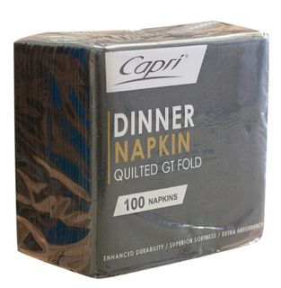 CAPRI DINNER QUILTED 1/4 (QUARTER FOLD) BLACK NAPKINS -100-PKT