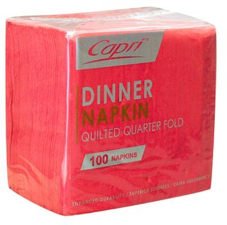 CAPRI DINNER QUILTED 1/4 (QUARTER FOLD) RED NAPKINS - 100 -PKT