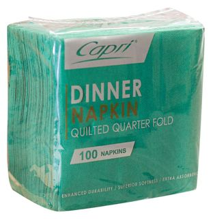 CAPRI DINNER QUILTED 1/4 (QUARTER FOLD) DARK GREEN NAPKINS - 100 -PKT