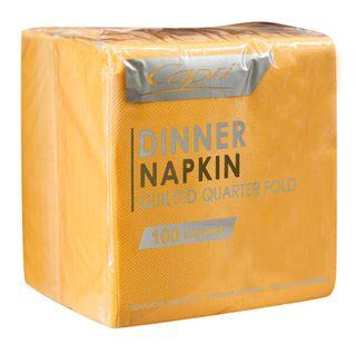CAPRI DINNER QLTD QTR FOLD GOLD NAPKIN - 100 - PKT