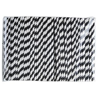 AUSTRAW BLACK STRIPE REGULAR PAPER STRAWS - 250 - PKT