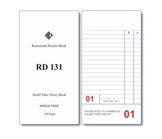 RD131 TAKE AWAY DOCKET BOOK -1-EACH