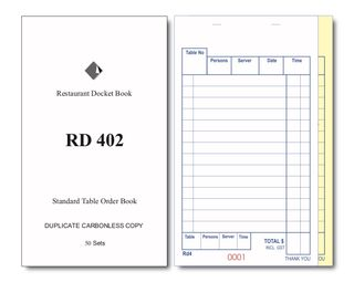 RD402 DUPLICATE CARBONLESS DOCKET BOOK -1-EACH