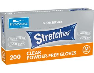 PRIME SOURCE CLEAR STRETCHIE GLOVES - MEDIUM - POWDER FREE - 200 - PKT