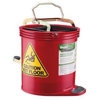 RAPID CLEAN ROLLER WRINGER BUCKET - RED -EACH