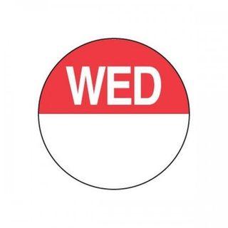 DAYDOTS - ROUND - 24MM - WEDNESDAY  - RED -1000 - ROLL