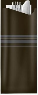 ELAG POCHETTA BLACK CLASSIC STRIPES 2PLY WHITE NAPKIN CUTLERY POUCH, 85mmx190mm - 350 - CTN