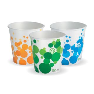 BIOPAK 12oz Paper COLD Cup - Mix of green, orange & blue in each carton - 1000 - ( PECC-12 ) - CTN