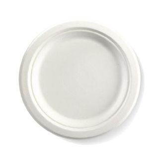 BIOPAK 9 Inch Round BIOCANE Plate - white - 500 - ( B-PL-09 ) - CTN