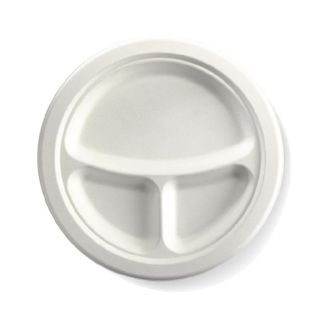 BIOPAK 9 Inch 3 - compartment Round BIOCANE Plate -  white - 500 - ( B-PL-93 ) - CTN