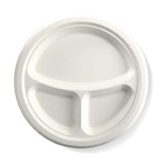 BIOPAK 10 Inch 3 - compartment Round BIOCANE Plate - white - 500 ( B-PL-11 ) - CTN