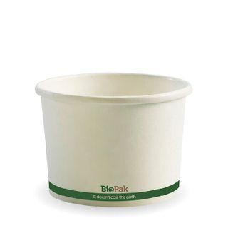 BIOPAK 16oz HOT Bowl - White with green stripe - 500 - (BSC-16 ) - CTN
