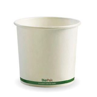 BIOPAK 24oz HOT Bowl - White with green stripe - 500 - ( BSC-24 ) - CTN