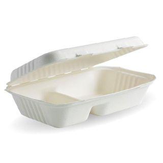 BIOPAK 9x6x3 Inch 2 - compartment BIOCANE CLAMSHELL - white - 250 - CTN ( B-HL-96-2 )