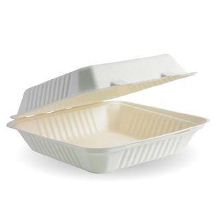 BIOPAK 9x9x3Inch BIOCANE CLAMSHELL - white - 200 - CTN ( B-HL-91 )