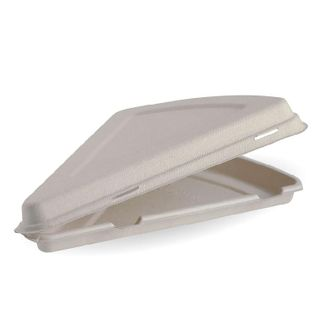 BIOPAK 9Inch pizza slice BIOCANE CLAMSHELL - fits a slice of 18inch pizza - natural - 250 - CTN ( B-HLP-N )