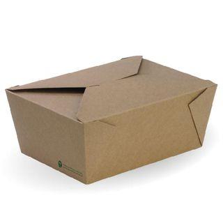 BIOPAK Extra Large Lunch box - 197x140x90mm - FSC Mix - kraft - 200 - CTN ( BB-LBXL-4 )
