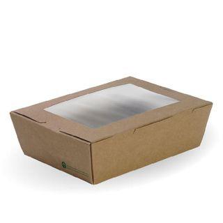 BIOPAK Large Lunch box with window - 197x140x64mm - FSC Mix - kraft - 200 - CTN ( BB-WLBL-3 )