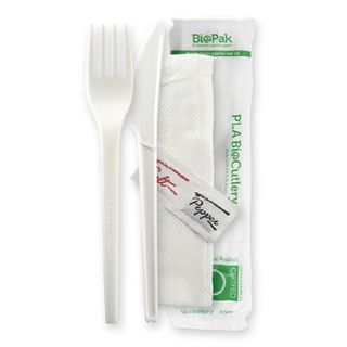 BIOPAK 6.5 Inch Knife, Fork, Napkin, Salt & Pepper set - white - BioPak branded wrap - 250 - CTN ( GD-6.5AKFNSP-B )