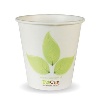 BIOPAK Single Wall CUP - 6oz (80mm) - White with Leaf Print - 50 - ( BC-6 ) - SLV