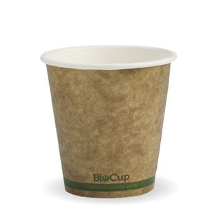 BIOPAK Single Wall CUP - 6oz (80mm) - Kraft with Green Stripe - 50 - ( BCK-6-GS ) - SLV