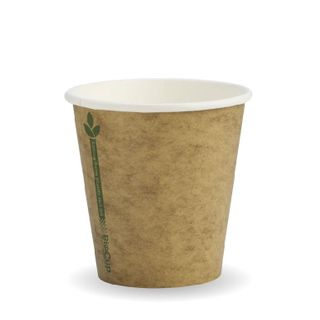 BIOPAK Single Wall CUP - 6oz (80mm) - Kraft with Green Line - 50 - ( BCK-6-GL ) - SLV