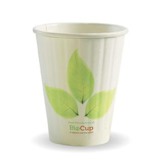 BIOPAK Double Wall CUP - 8oz (80mm) - White with Leaf Print - 50 - ( BC-8DW ) - SLV
