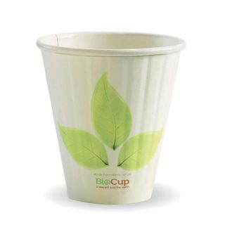 BIOPAK Double Wall CUP - 8oz (90mm) - White with Leaf Print - 50 - ( BC-8DW(90) ) - SLV