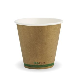 BIOPAK Double Wall CUP - 8oz (90mm) - Kraft with Green Stripe - 50 - ( BCK-8DW-GS(90) ) - SLV