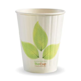 BIOPAK Double Wall CUP - 12oz (90mm) - White with Leaf Print - 40 - ( BC-12DW ) - SLV