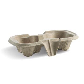 BIOPAK 2 cup tray - natural - SLV - 50 ( B-CC-802 )