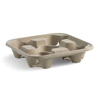 BIOPAK 4 cup tray - natural - 75 - ( B-CC-832 ) - SLV