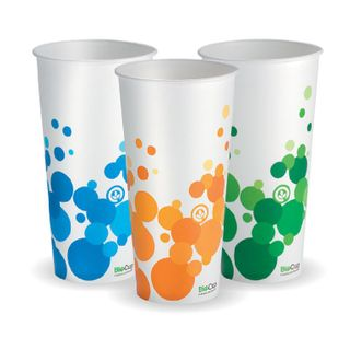 BIOPAK 22oz Paper COLD Cup - Mix of green,orange & blue in each carton - 50 - ( PECC-22 ) - SLV
