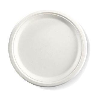 BIOPAK 10Inch Round BIOCANE Plate - white - 125 ( B-PL-10 ) - SLV