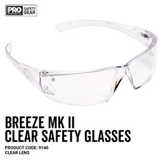 PRO CHOICE BREEZE MKII SAFETY GLASSES - CLEAR - PAIR