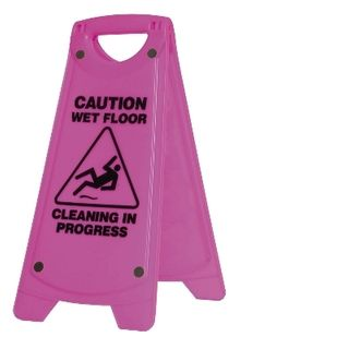 OATES - WARNING SIGN - PINK - CAUTION WET FLOOR  - (IW-101P / 165483) -EACH