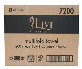 LIVI 7200 EVERYDAY SLIMLINE INTERLEAF HAND TOWEL - 4000 - CTN