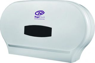 ROYAL TOUCH TWIN MAXI JUMBO DOUBLE TOILET ROLL DISPENSER - WHITE - (33412) -EACH