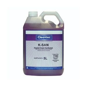 "CLEANTEC "" K-SAN "" Hospital Grade No rinse Disinfectant -5L"