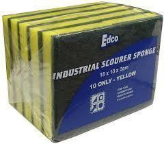 EDCO YELLOW & GREEN SPONGE SCOURER - 10 PACK