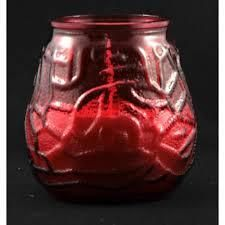 VICTORIAN GLASS CANDLES - RED - 420373 - 12 - BOX