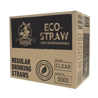 AUSTRAW ECO-STRAW OXO BIODEGRADABLE CLEAR REGULAR STRAWS - 5000 - CTN